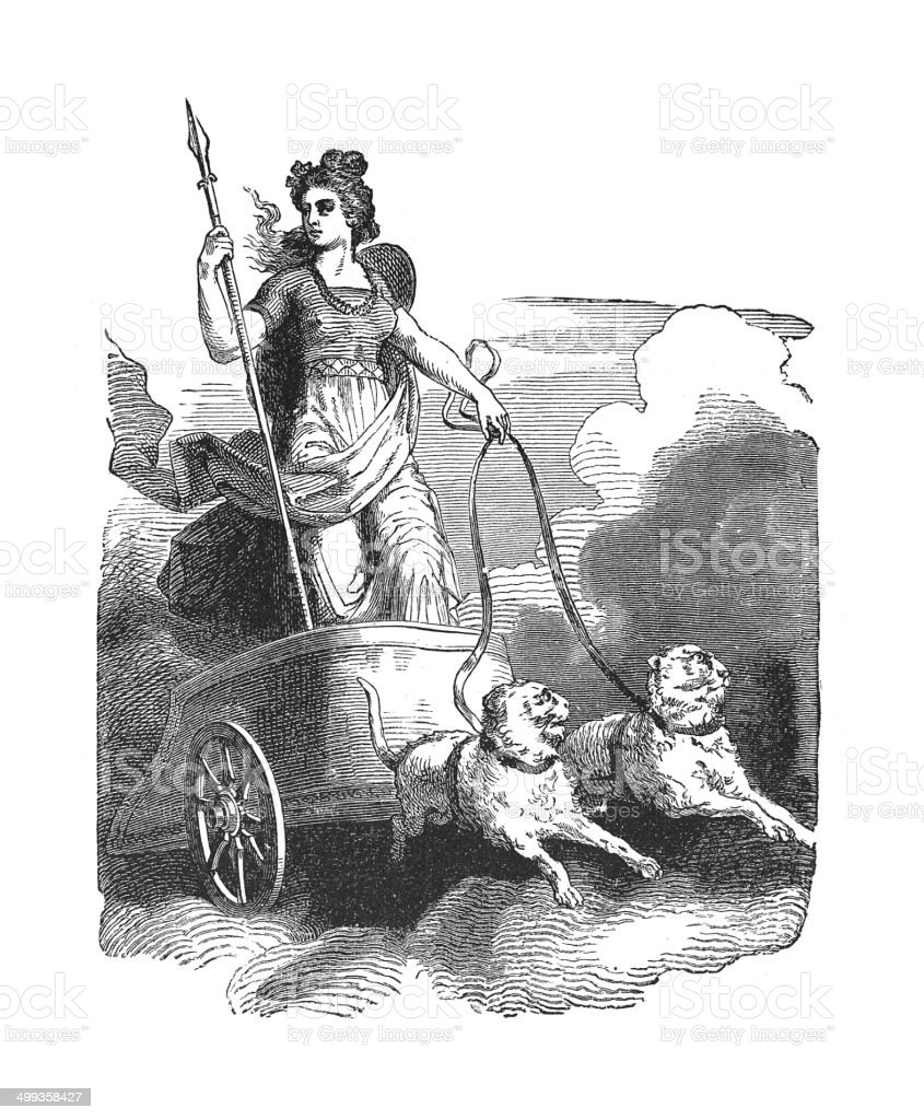 Frigga a major goddess in Norse paganism (antique engraving) vector art illustration