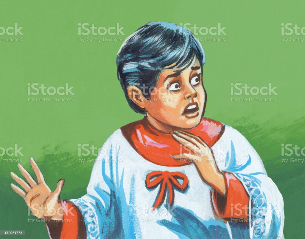 Frightened Altar Boy royalty-free stock vector art