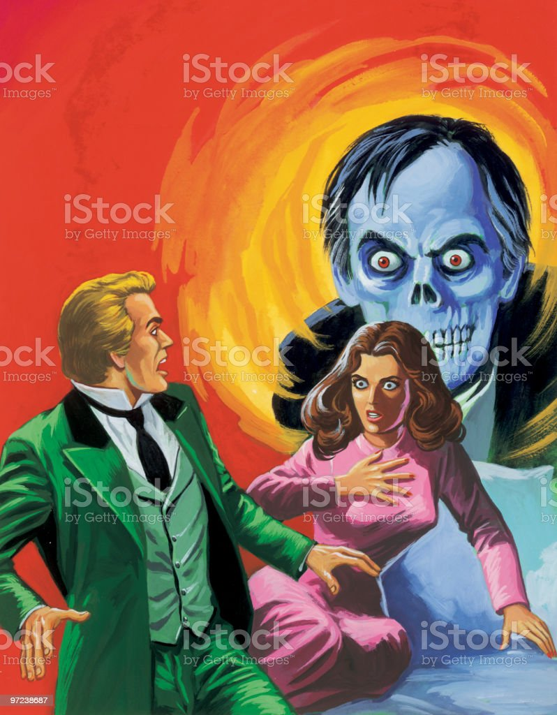Frightened Couple With Zombie royalty-free stock vector art