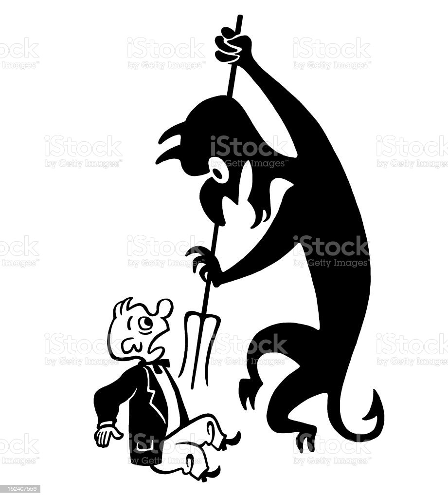 Frightened Man and Devil royalty-free stock vector art