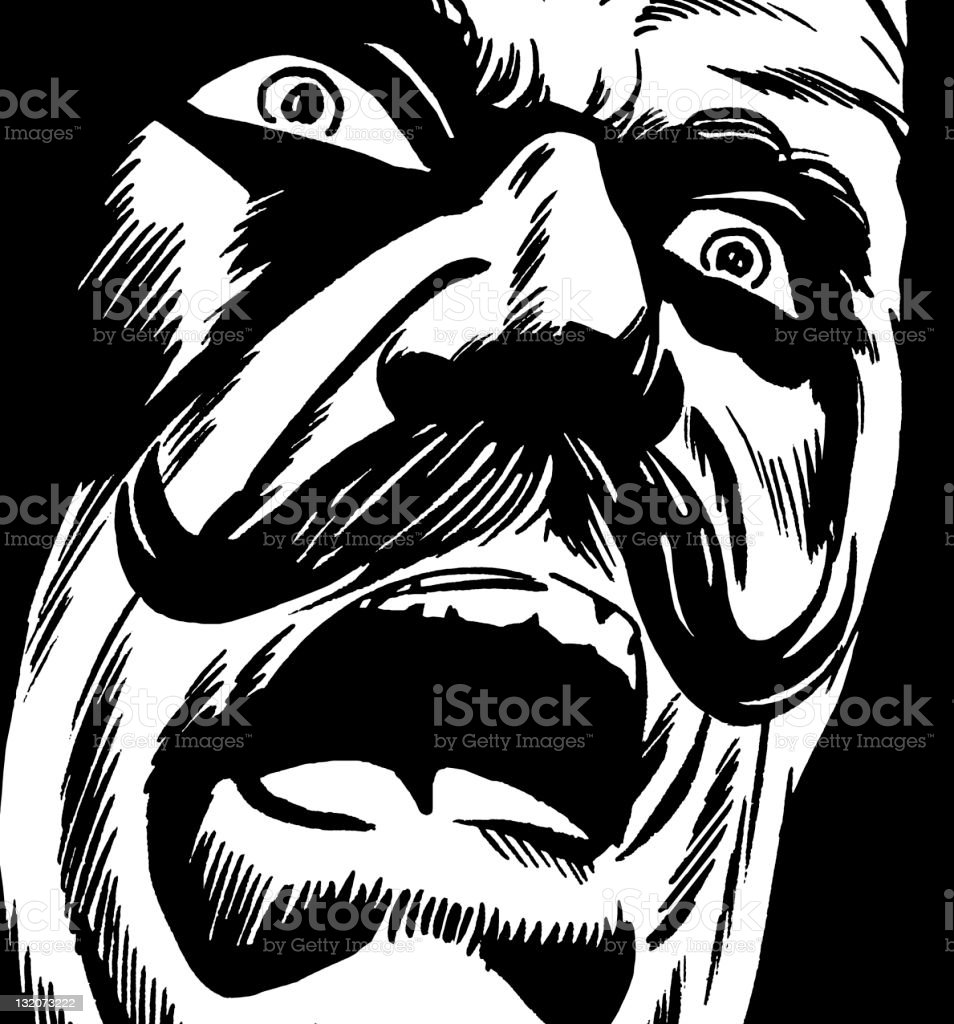 Frightened Mustache Man Screaming vector art illustration
