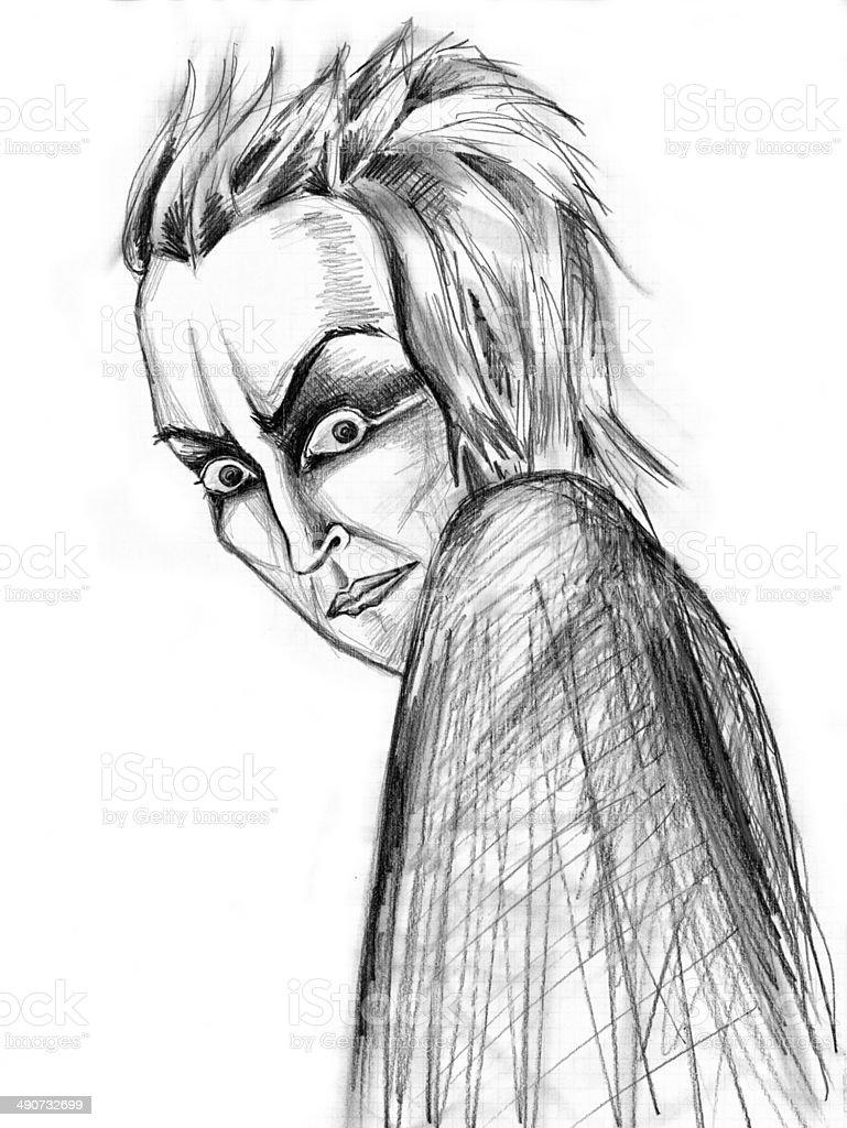 Frightening portrait vector art illustration