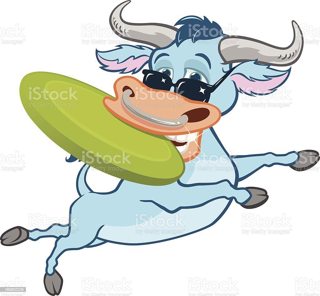 Frisbee Bull royalty-free stock vector art