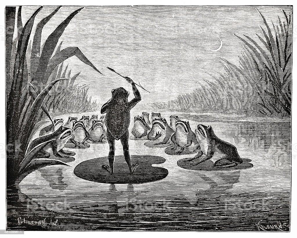 Frog Chorus - Victorian Steel Engraving royalty-free stock vector art