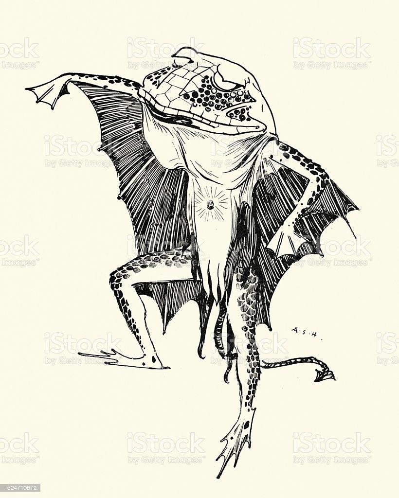 Frog Demon vector art illustration