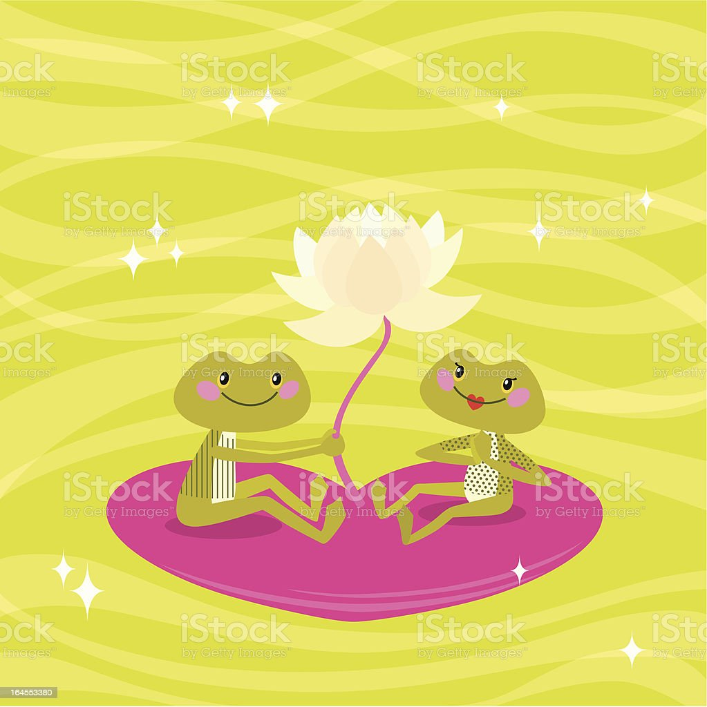 Frog Love. vector art illustration