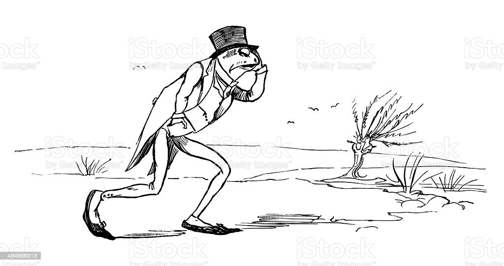 Frog out for a walk in his Sunday best royalty-free stock vector art