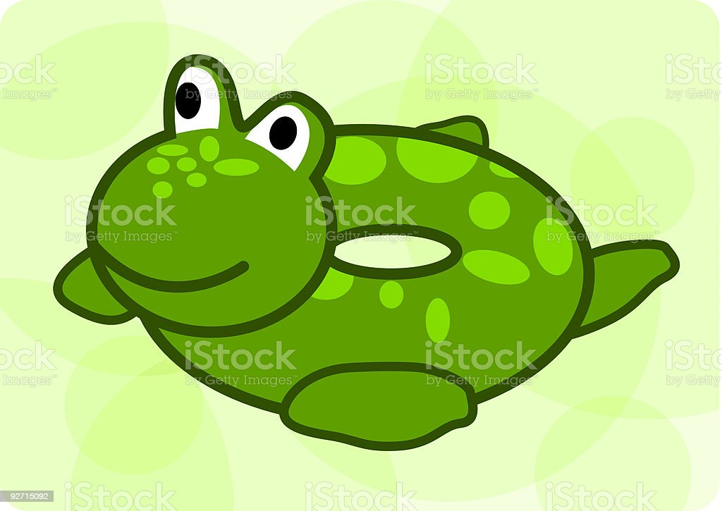 Frog Swimming Floatie vector art illustration