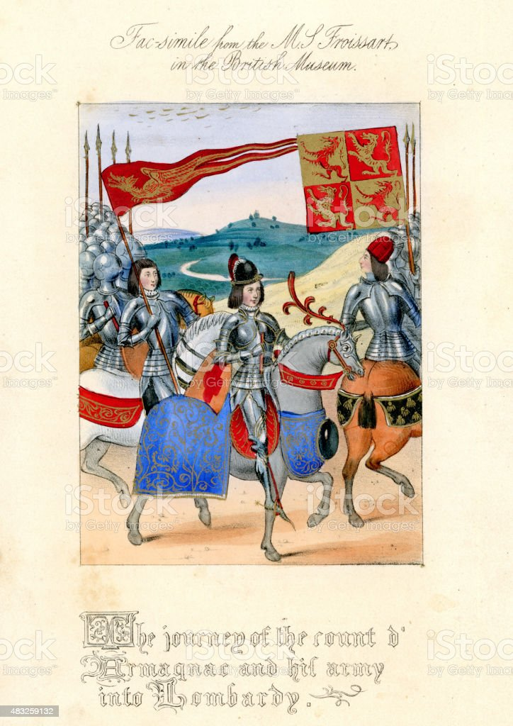 Froissart's Chronicles - Count D'Armagnac and his army in Lombar vector art illustration