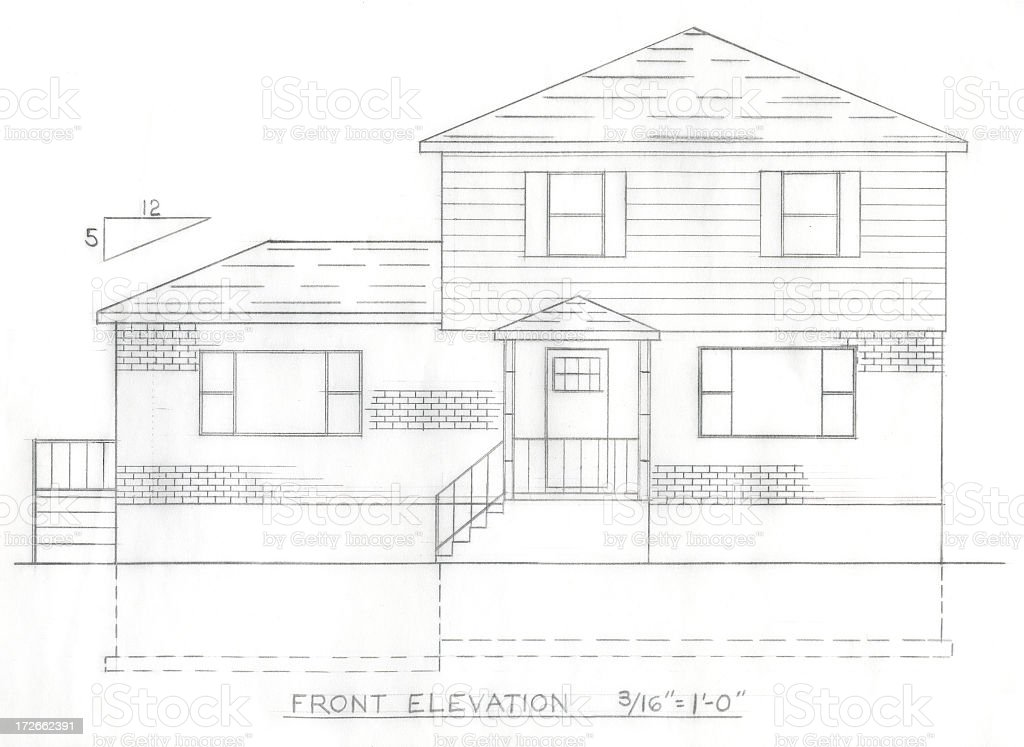 Front elevation plan royalty-free stock photo