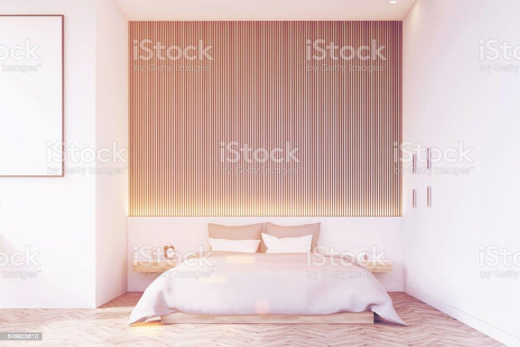 Front view of bedroom with wooden floor, toned vector art illustration