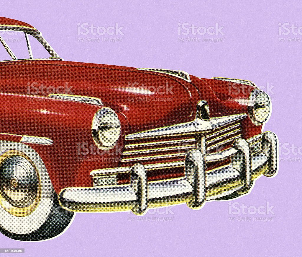 Front View of Vintage Red Car royalty-free stock vector art