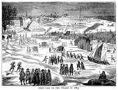 Frost fair on the River Thames in 1683