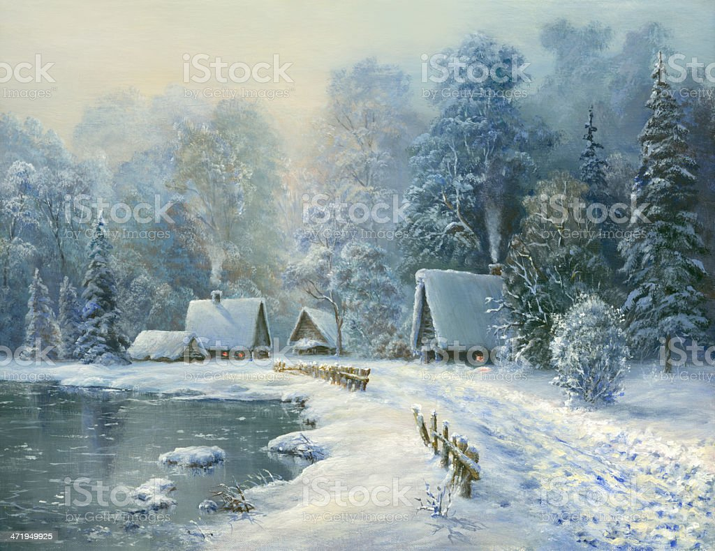 Frosty morning in the village vector art illustration