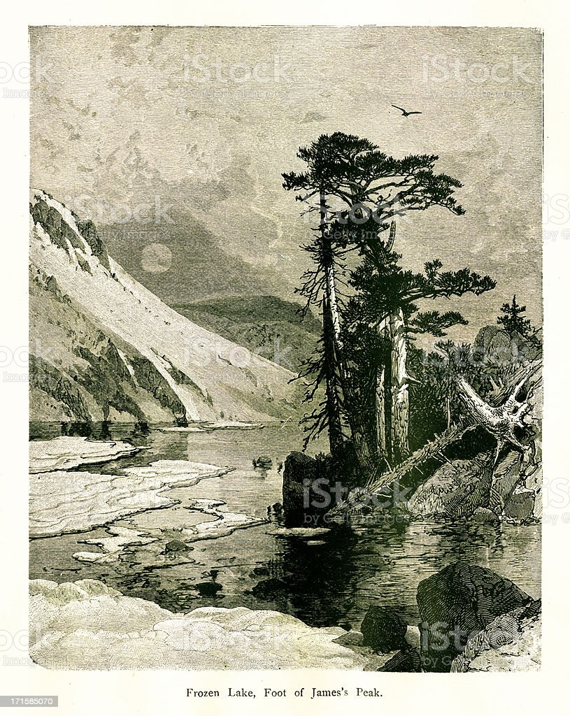 Frozen Lake, Colorado | Historic American Illustrations vector art illustration