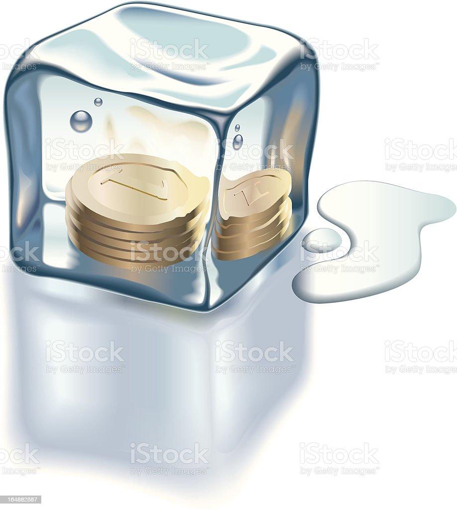 Frozen money vector art illustration