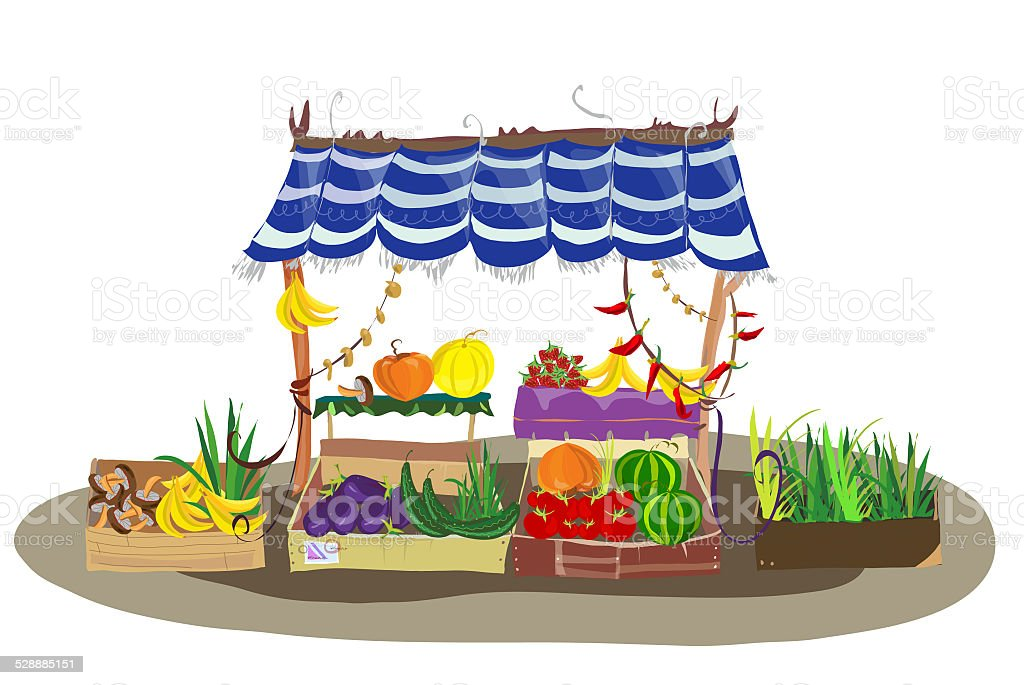 Fruit and Veg shop on the city street vector art illustration