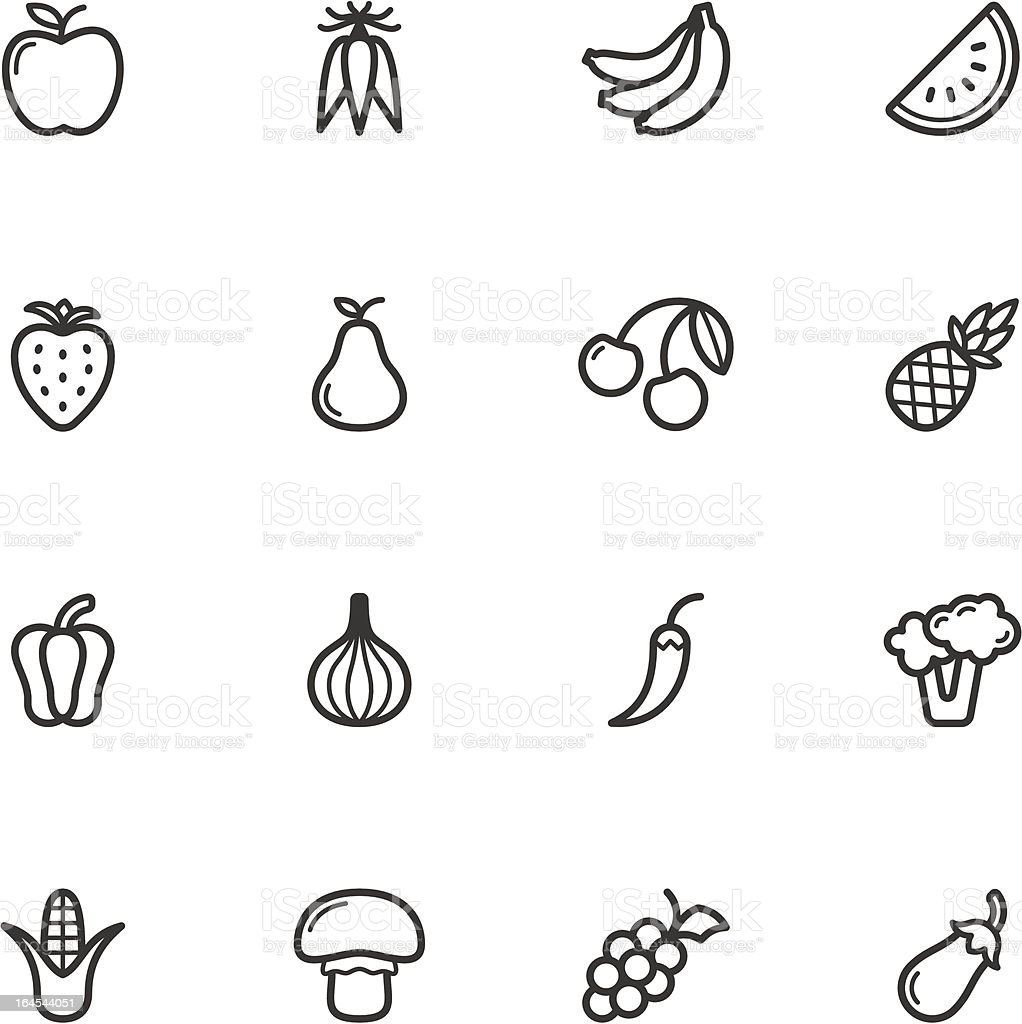 Fruit and Vegetable Icons vector art illustration