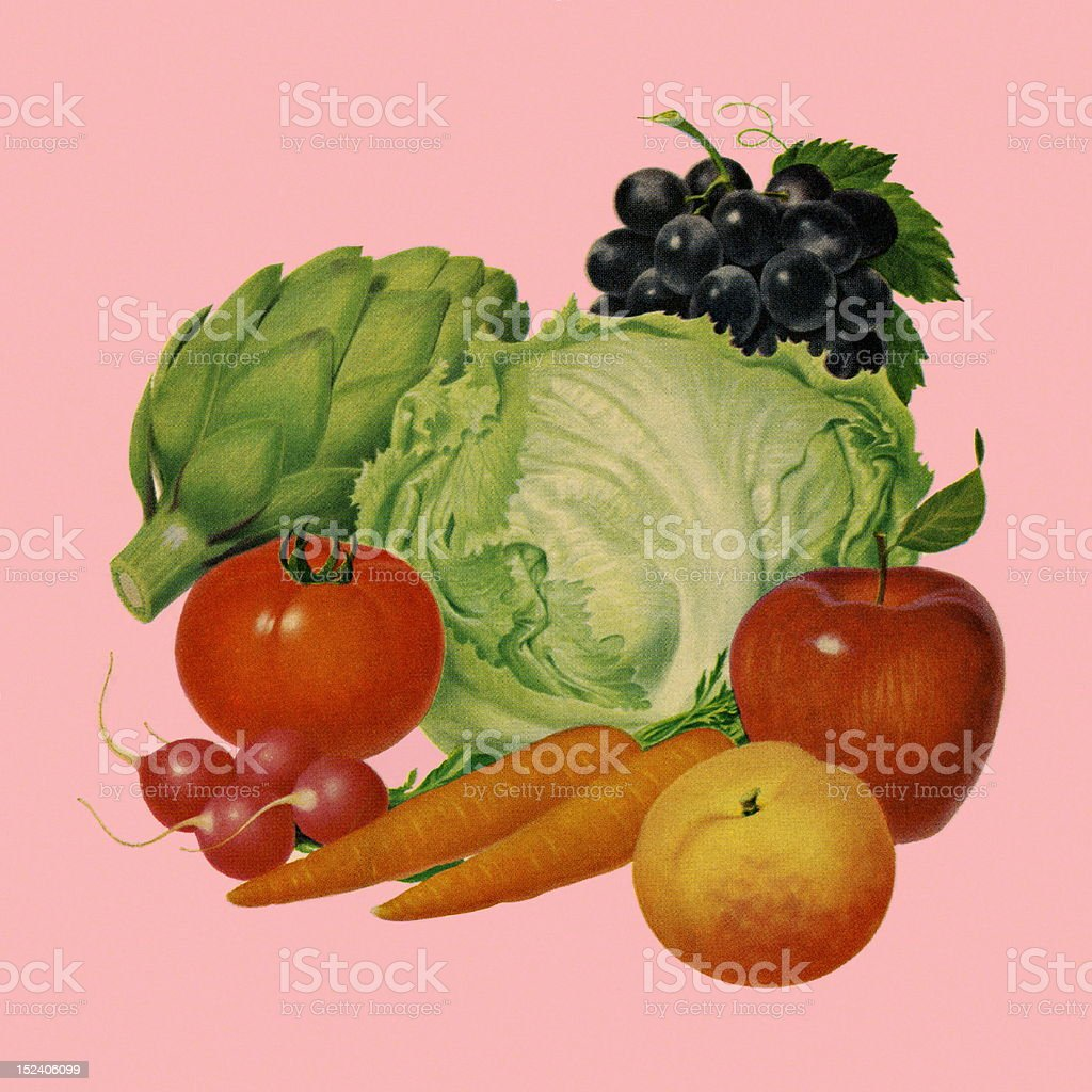 Fruit and Vegetables vector art illustration