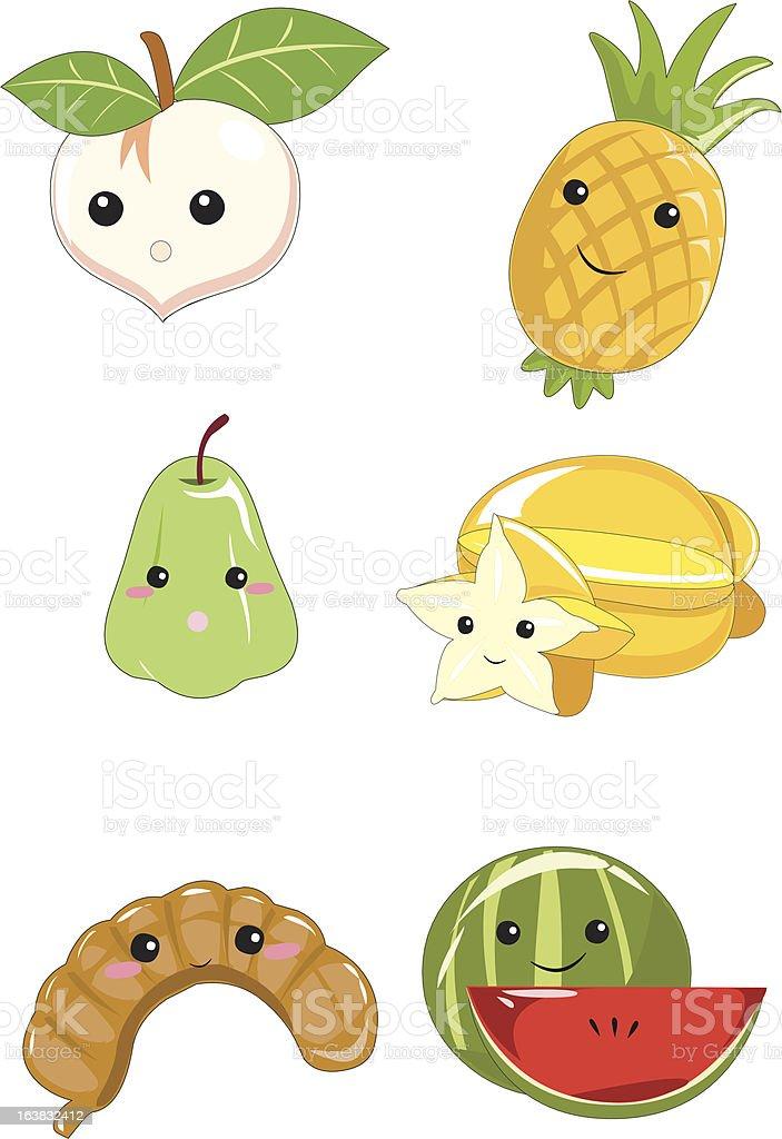 Fruit Cartoon Collection vector art illustration