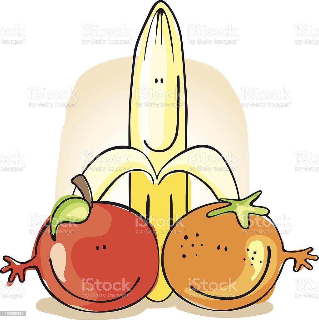 Fruit Friends royalty-free stock vector art