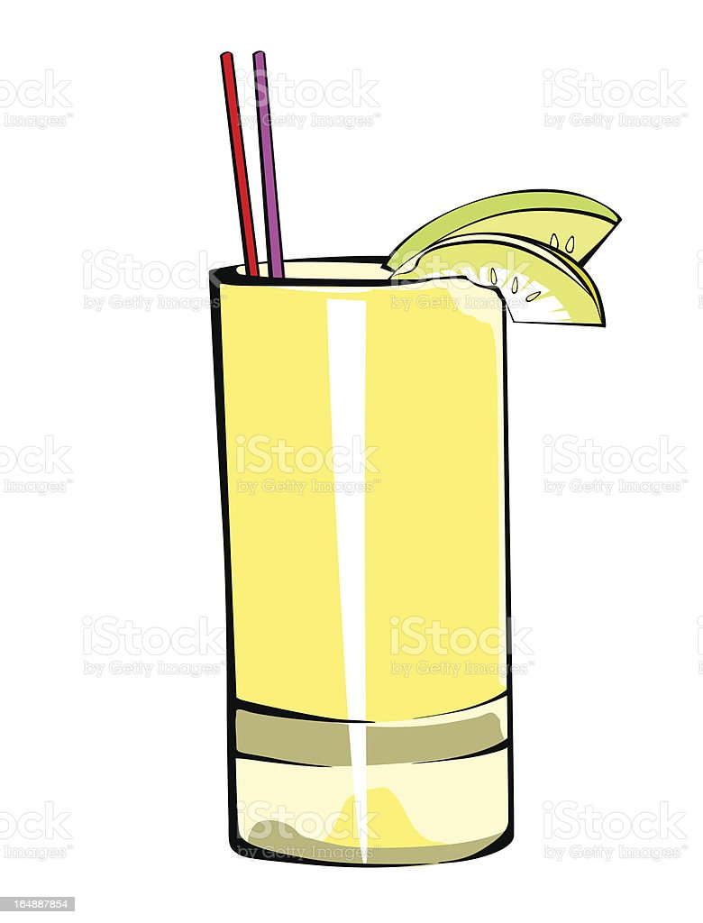 Fruit Juice in the yellow glass vector art illustration