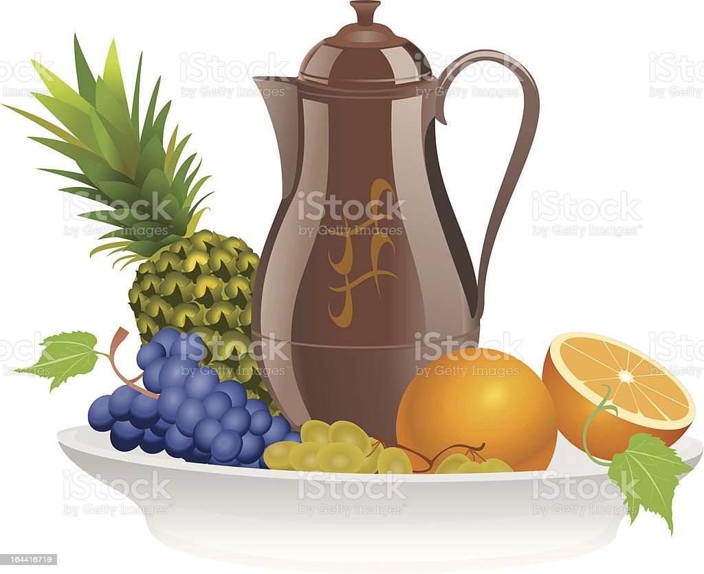 Fruit on a plate with pitcher vector art illustration