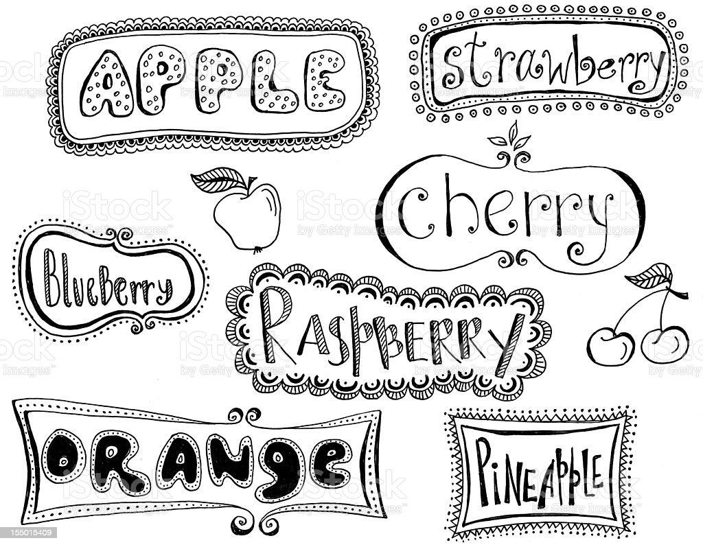 Fruits labels vector art illustration