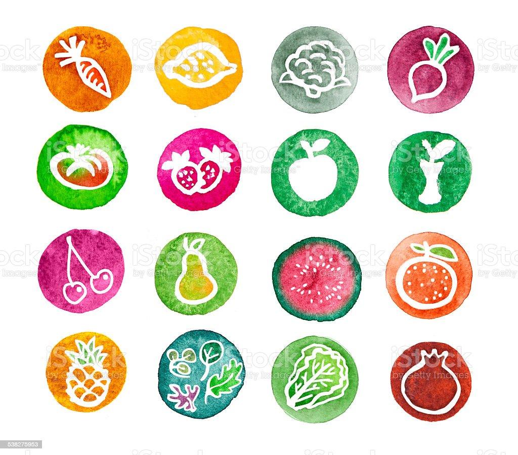 Fruits watercolour web icon set vector art illustration