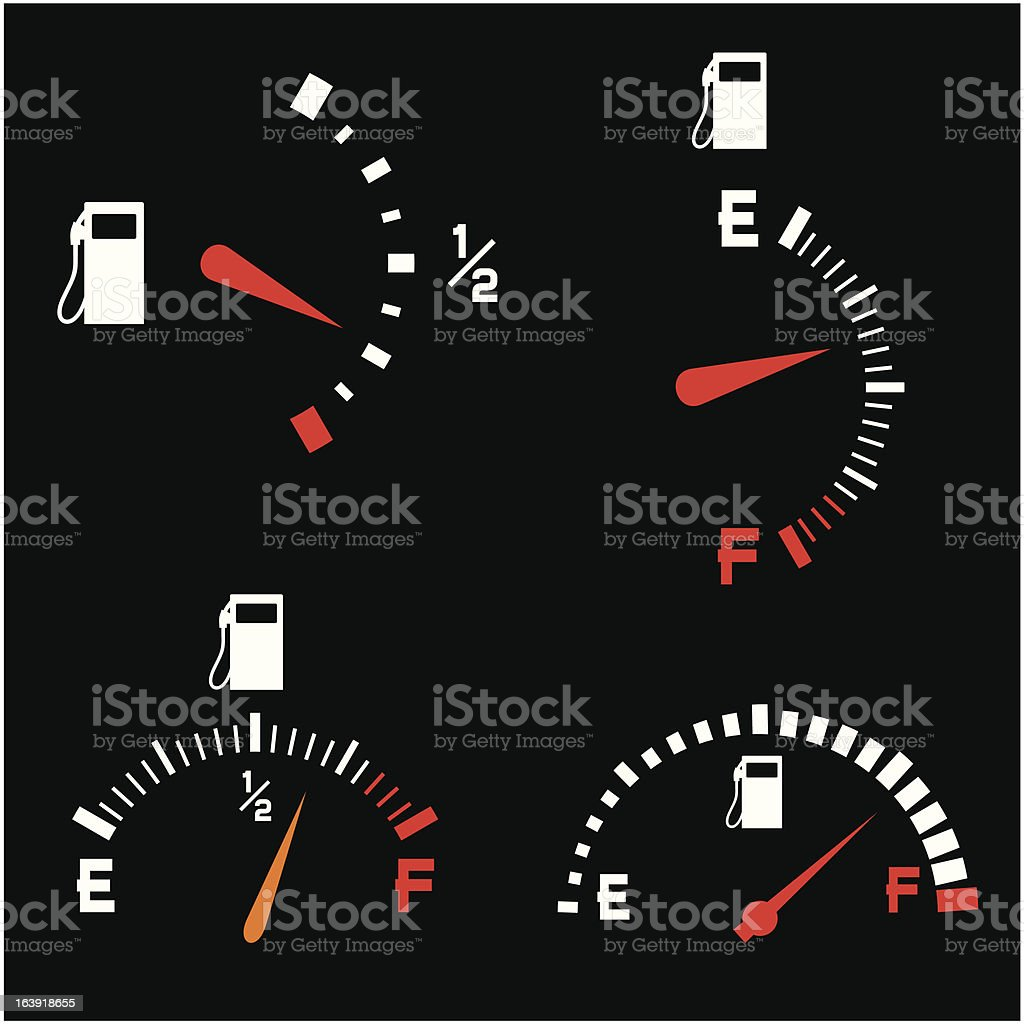 fuel gauge (gas gage shows petrol level) royalty-free stock vector art