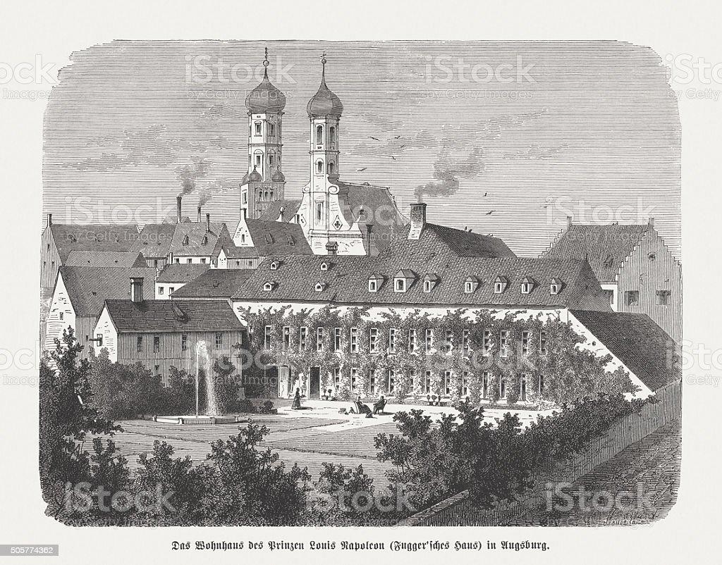 Fugger House in Nuremberg, Germany, wood engraving, published in 1873 vector art illustration