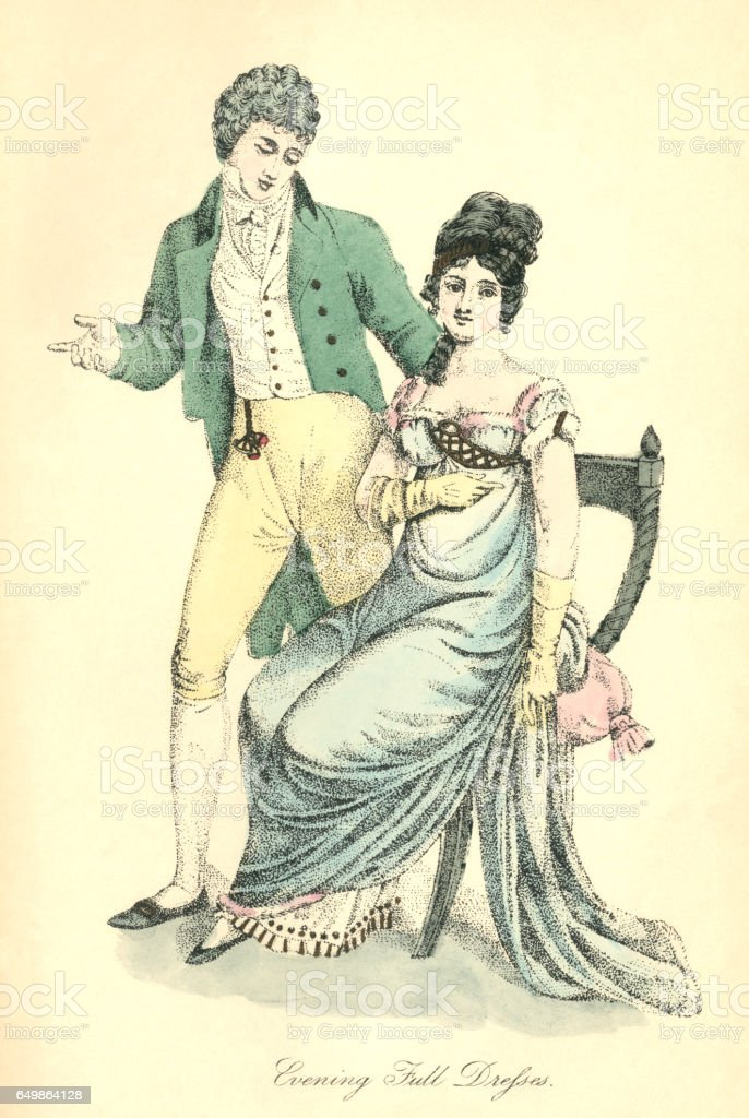 Full evening dress for ladies and gentlemen, 1807 vector art illustration