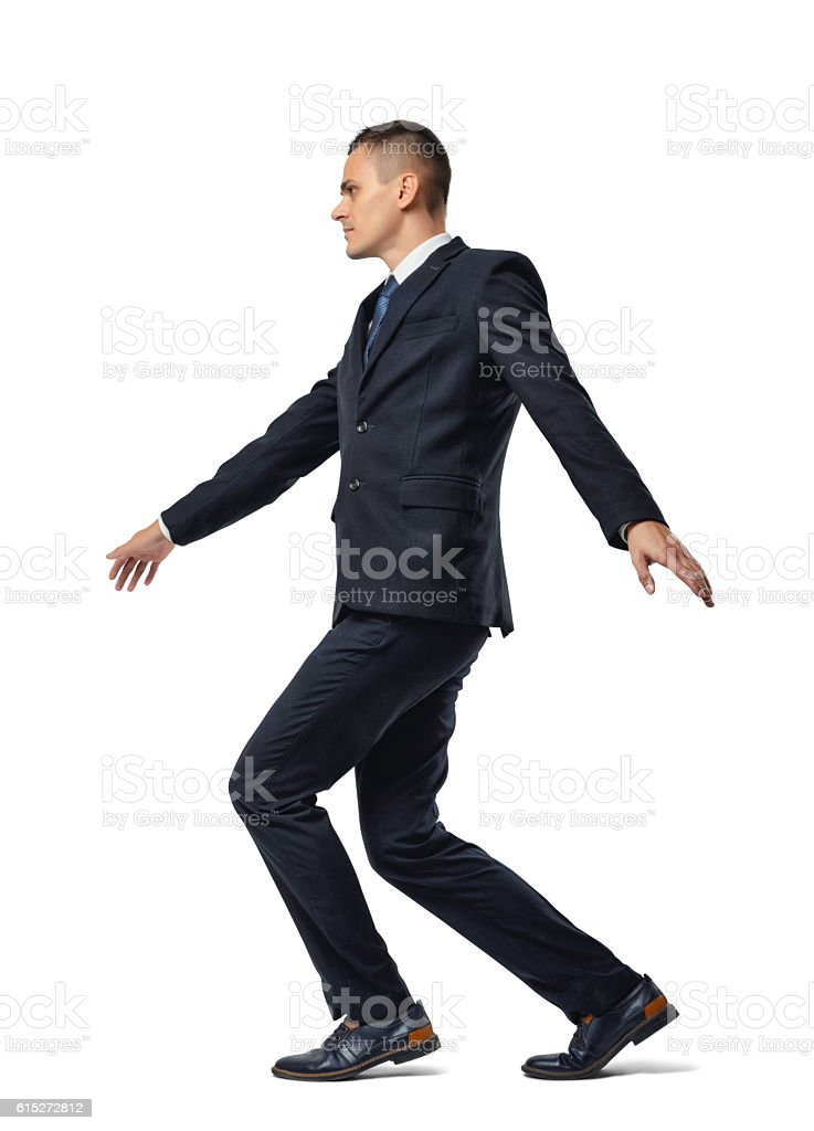 Full growth portrait of businessman walking tightrope isolated on white vector art illustration
