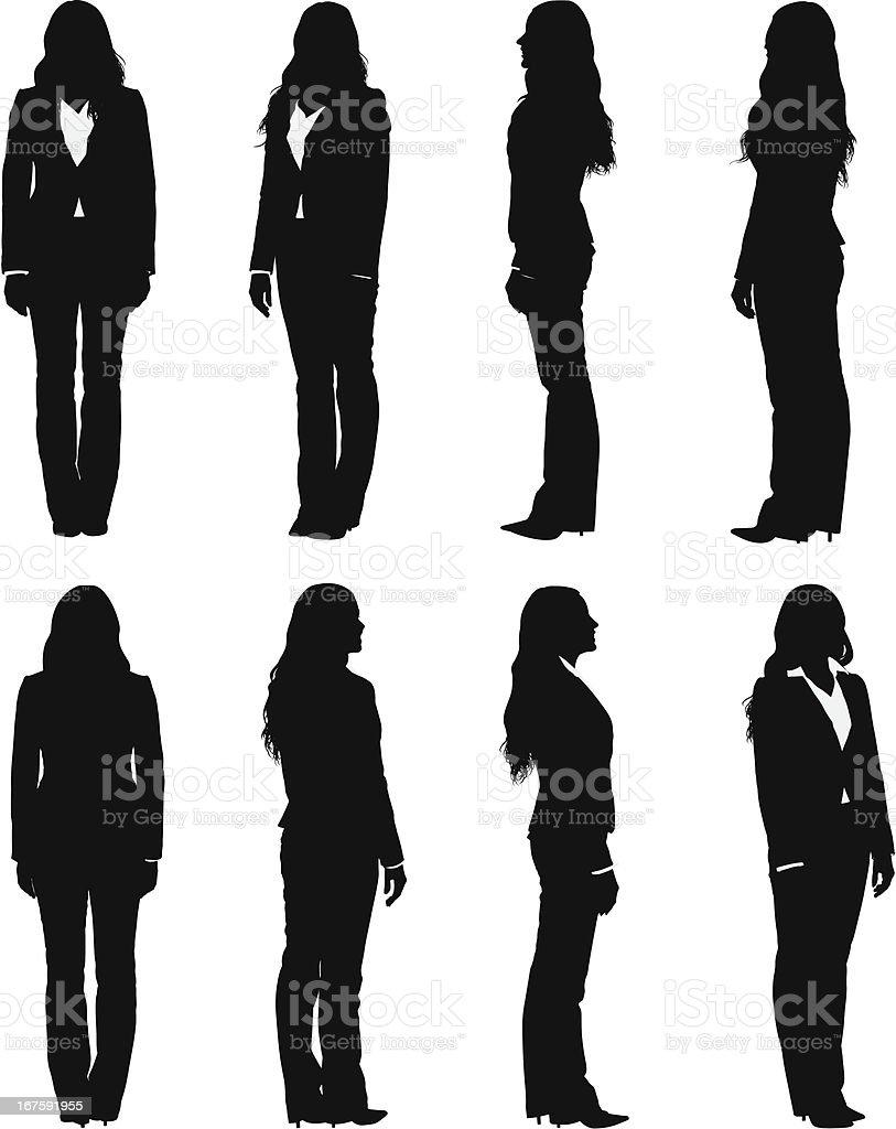 Full length views of businesswoman turning vector art illustration