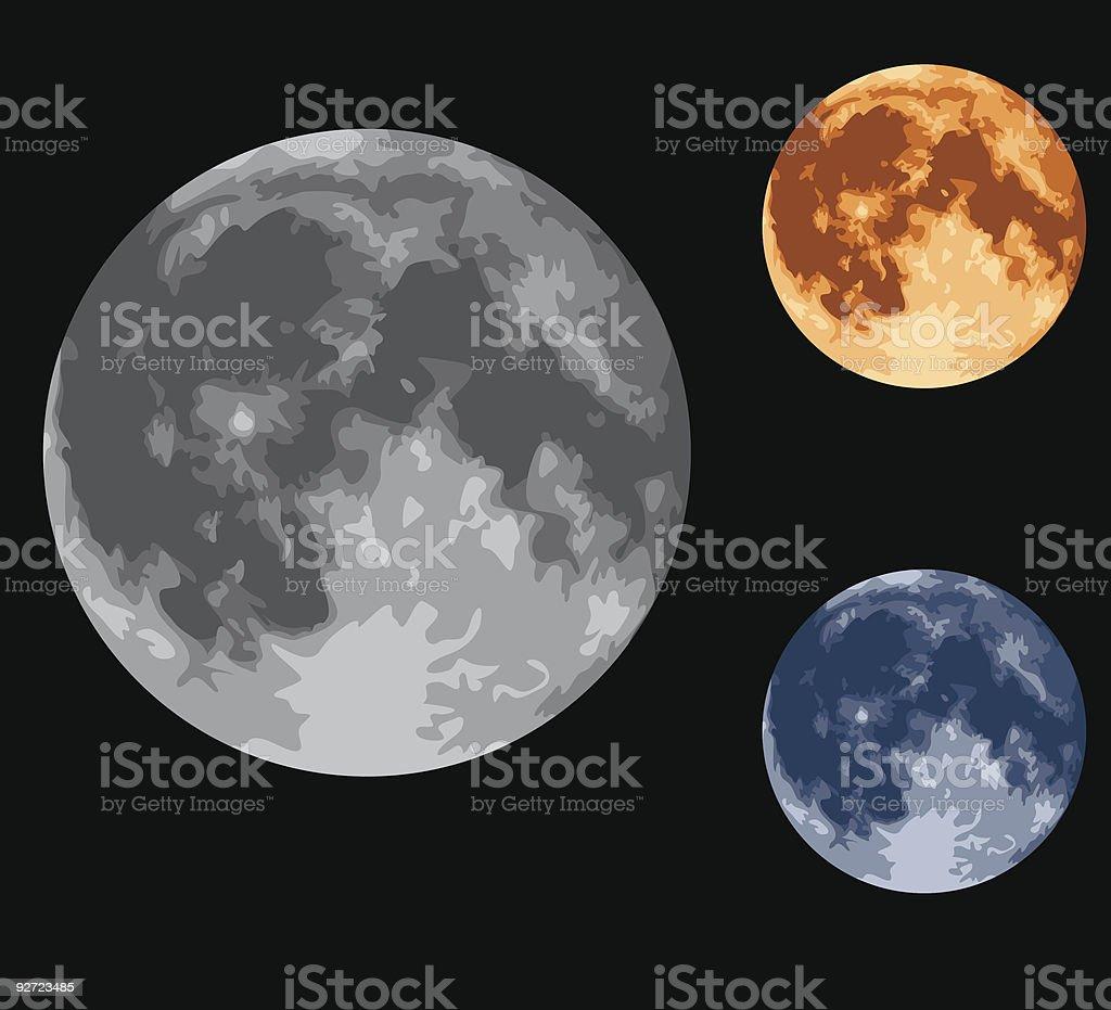 Full Moon Design Set vector art illustration