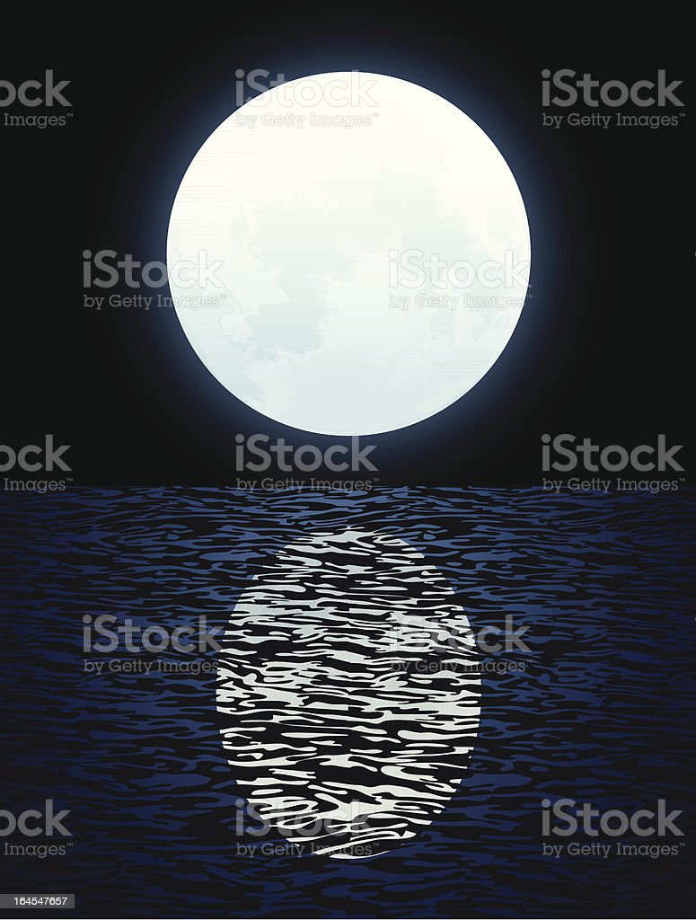 Full Moon Open Water Moonlight Reflection Vector royalty-free stock vector art