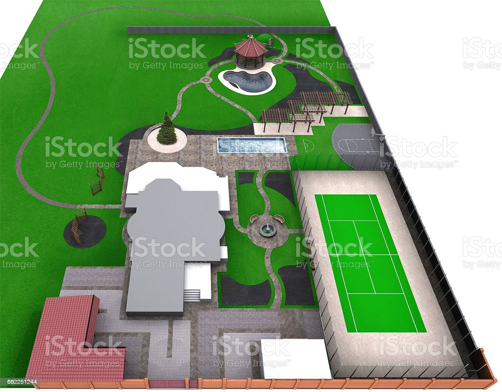 Fully illustrated complete garden landscaping, 3d render vector art illustration