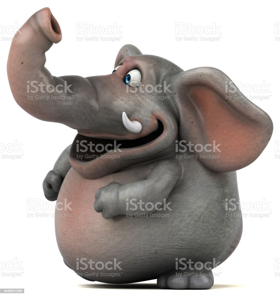 Fun elephant - 3D Illustration vector art illustration