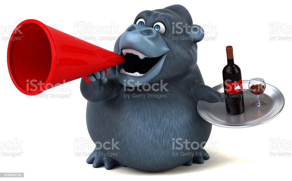 Fun gorilla - 3D Illustration vector art illustration