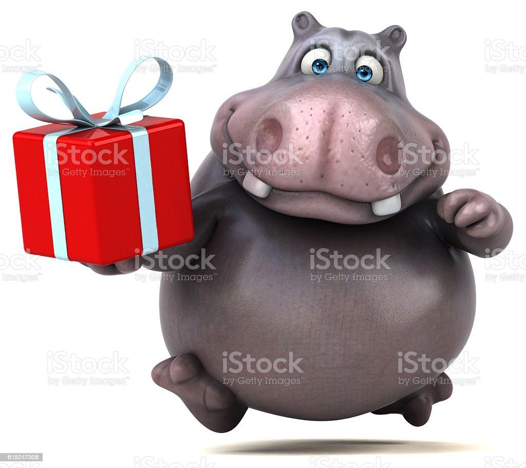 Fun hippo vector art illustration