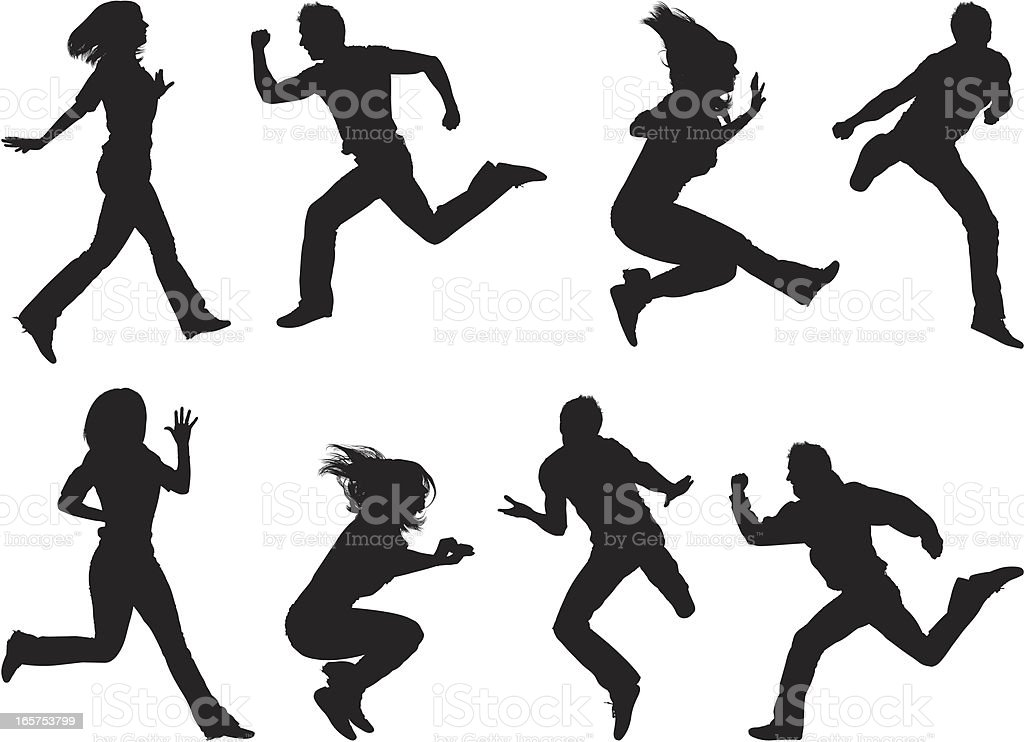 Fun men and women jumping in the air royalty-free stock vector art