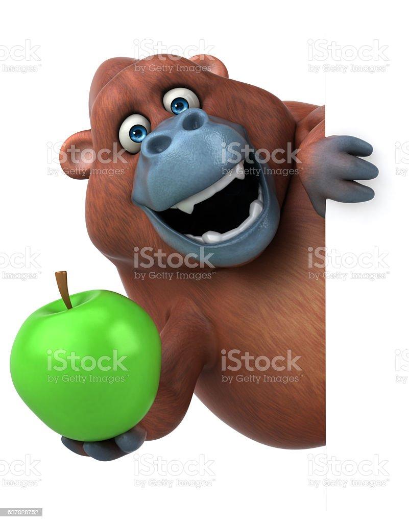 Fun orangoutan - 3D Illustration vector art illustration