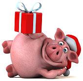 Fun santa pig - 3D Illustration