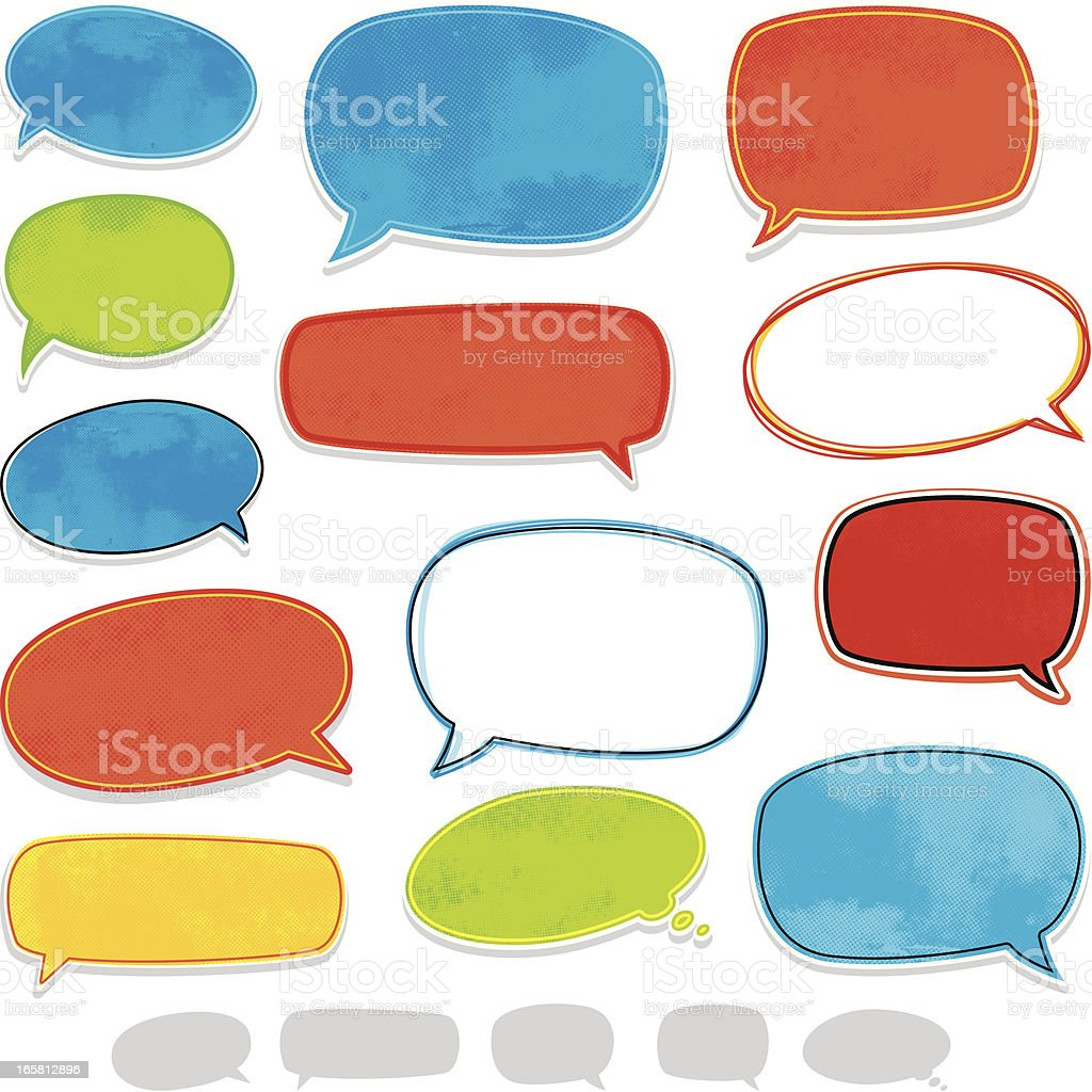 Fun speech bubbles vector art illustration
