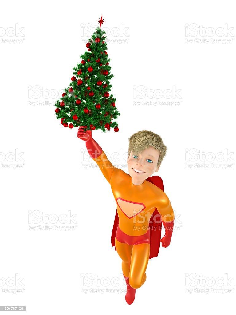 Des super-héros et arbre de Noël stock vecteur libres de droits libre de droits