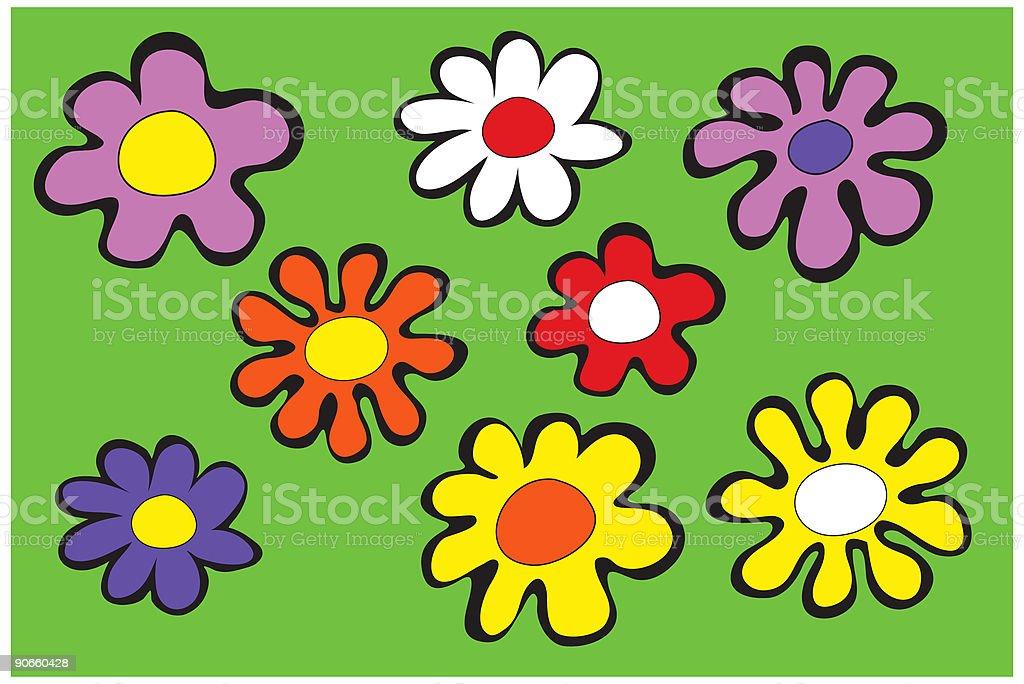 Funky Flowers royalty-free stock vector art