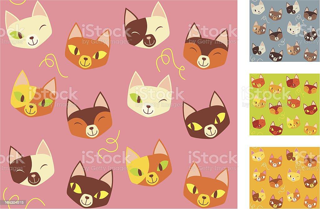 Funky Kitty Cats (motif sans couture stock vecteur libres de droits libre de droits