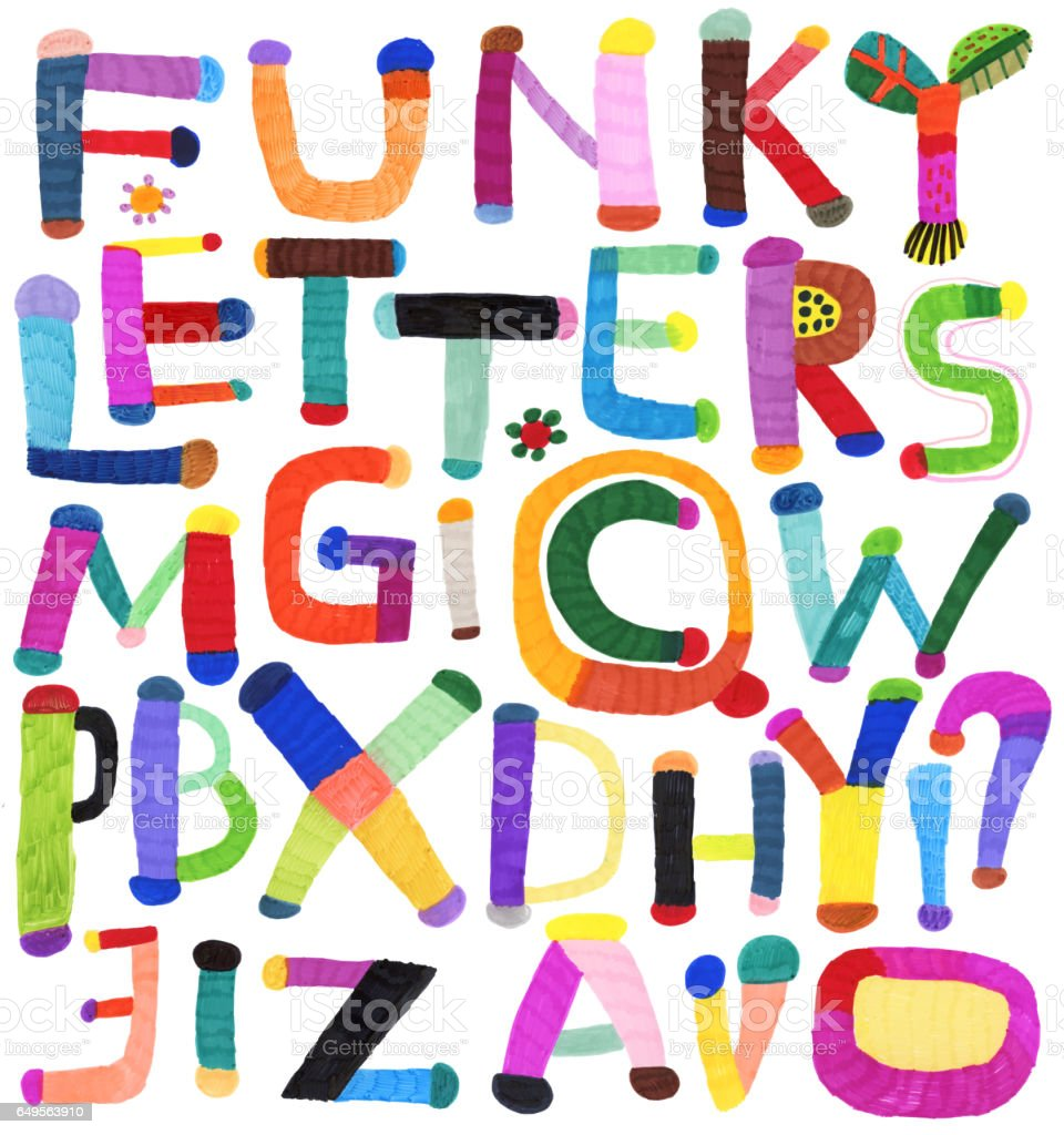 Funky letters alphabet vector art illustration