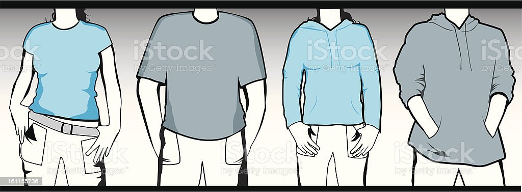 Funky Shirts vector art illustration
