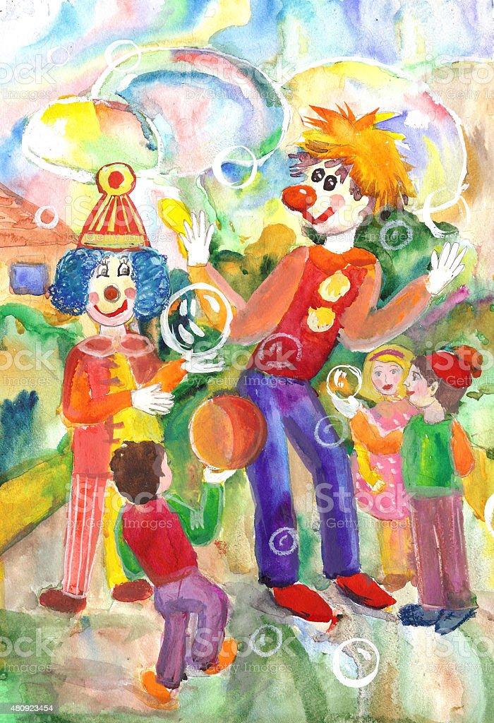 Divertente e divertente clowns intrattenuto i bambini illustrazione royalty-free